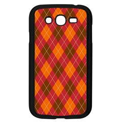 Argyle Pattern Background Wallpaper In Brown Orange And Red Samsung Galaxy Grand DUOS I9082 Case (Black)