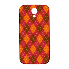 Argyle Pattern Background Wallpaper In Brown Orange And Red Samsung Galaxy S4 I9500/i9505  Hardshell Back Case