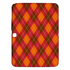 Argyle Pattern Background Wallpaper In Brown Orange And Red Samsung Galaxy Tab 3 (10.1 ) P5200 Hardshell Case