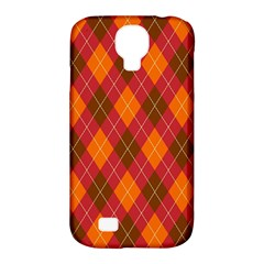 Argyle Pattern Background Wallpaper In Brown Orange And Red Samsung Galaxy S4 Classic Hardshell Case (PC+Silicone)