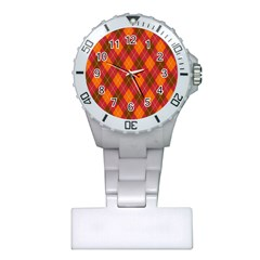 Argyle Pattern Background Wallpaper In Brown Orange And Red Plastic Nurses Watch