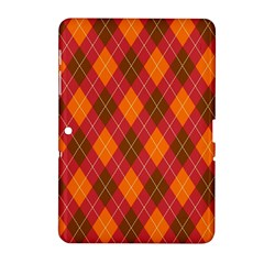 Argyle Pattern Background Wallpaper In Brown Orange And Red Samsung Galaxy Tab 2 (10.1 ) P5100 Hardshell Case