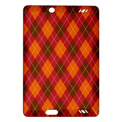 Argyle Pattern Background Wallpaper In Brown Orange And Red Amazon Kindle Fire HD (2013) Hardshell Case
