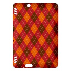 Argyle Pattern Background Wallpaper In Brown Orange And Red Kindle Fire Hdx Hardshell Case