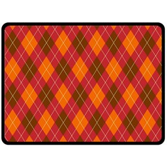 Argyle Pattern Background Wallpaper In Brown Orange And Red Double Sided Fleece Blanket (large)