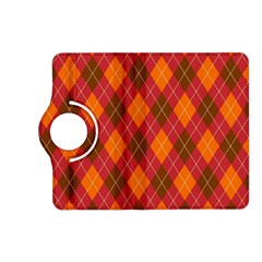 Argyle Pattern Background Wallpaper In Brown Orange And Red Kindle Fire HD (2013) Flip 360 Case