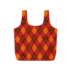 Argyle Pattern Background Wallpaper In Brown Orange And Red Full Print Recycle Bags (s)