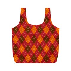 Argyle Pattern Background Wallpaper In Brown Orange And Red Full Print Recycle Bags (M)