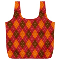 Argyle Pattern Background Wallpaper In Brown Orange And Red Full Print Recycle Bags (L)
