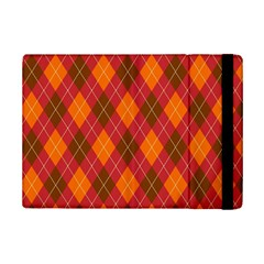 Argyle Pattern Background Wallpaper In Brown Orange And Red iPad Mini 2 Flip Cases