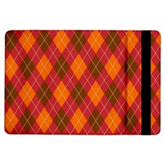 Argyle Pattern Background Wallpaper In Brown Orange And Red iPad Air Flip