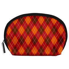 Argyle Pattern Background Wallpaper In Brown Orange And Red Accessory Pouches (Large)