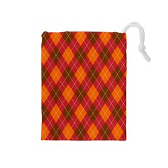Argyle Pattern Background Wallpaper In Brown Orange And Red Drawstring Pouches (Medium)
