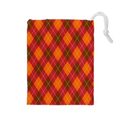 Argyle Pattern Background Wallpaper In Brown Orange And Red Drawstring Pouches (large)