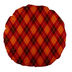 Argyle Pattern Background Wallpaper In Brown Orange And Red Large 18  Premium Flano Round Cushions