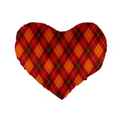 Argyle Pattern Background Wallpaper In Brown Orange And Red Standard 16  Premium Flano Heart Shape Cushions