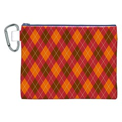 Argyle Pattern Background Wallpaper In Brown Orange And Red Canvas Cosmetic Bag (xxl)