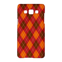 Argyle Pattern Background Wallpaper In Brown Orange And Red Samsung Galaxy A5 Hardshell Case