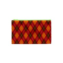 Argyle Pattern Background Wallpaper In Brown Orange And Red Cosmetic Bag (XS)