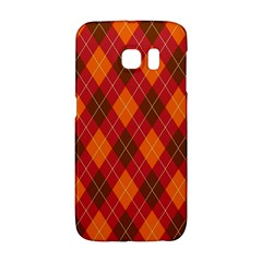 Argyle Pattern Background Wallpaper In Brown Orange And Red Galaxy S6 Edge