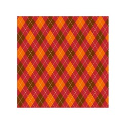 Argyle Pattern Background Wallpaper In Brown Orange And Red Small Satin Scarf (square)