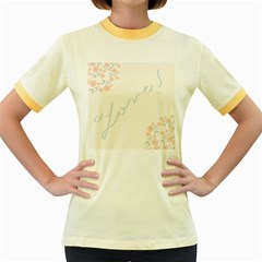 Love Card Flowers Women s Fitted Ringer T-Shirts