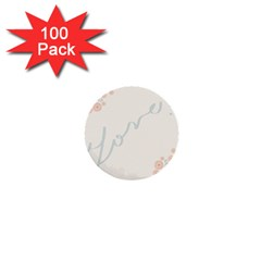 Love Card Flowers 1  Mini Buttons (100 Pack)