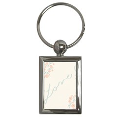 Love Card Flowers Key Chains (rectangle)