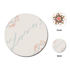 Love Card Flowers Playing Cards (round)