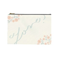 Love Card Flowers Cosmetic Bag (large)