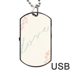 Love Card Flowers Dog Tag USB Flash (Two Sides)