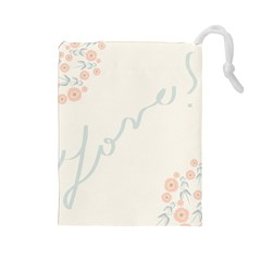 Love Card Flowers Drawstring Pouches (Large)