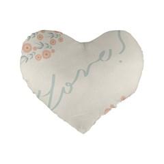 Love Card Flowers Standard 16  Premium Flano Heart Shape Cushions