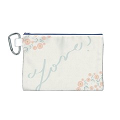 Love Card Flowers Canvas Cosmetic Bag (M)