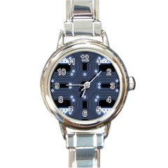 A Completely Seamless Tile Able Techy Circuit Background Round Italian Charm Watch