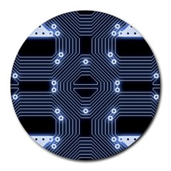 A Completely Seamless Tile Able Techy Circuit Background Round Mousepads
