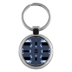 A Completely Seamless Tile Able Techy Circuit Background Key Chains (Round)