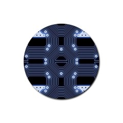 A Completely Seamless Tile Able Techy Circuit Background Rubber Round Coaster (4 Pack)