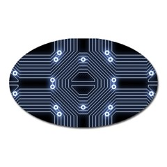 A Completely Seamless Tile Able Techy Circuit Background Oval Magnet