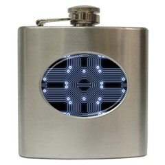A Completely Seamless Tile Able Techy Circuit Background Hip Flask (6 Oz)
