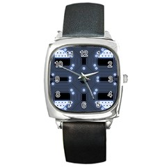 A Completely Seamless Tile Able Techy Circuit Background Square Metal Watch