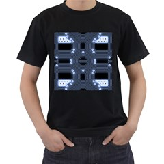A Completely Seamless Tile Able Techy Circuit Background Men s T Shirt (black) (two Sided)
