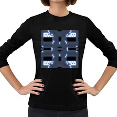 A Completely Seamless Tile Able Techy Circuit Background Women s Long Sleeve Dark T Shirts