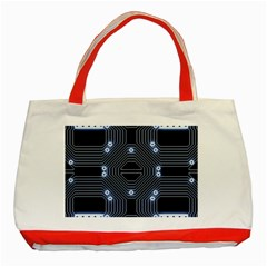 A Completely Seamless Tile Able Techy Circuit Background Classic Tote Bag (Red)