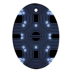 A Completely Seamless Tile Able Techy Circuit Background Oval Ornament (two Sides)