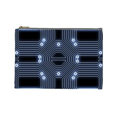 A Completely Seamless Tile Able Techy Circuit Background Cosmetic Bag (large)