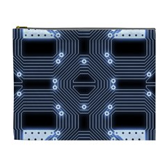 A Completely Seamless Tile Able Techy Circuit Background Cosmetic Bag (xl)