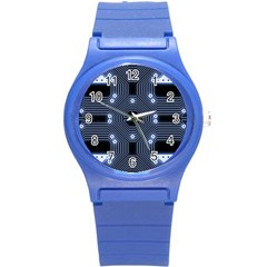 A Completely Seamless Tile Able Techy Circuit Background Round Plastic Sport Watch (S)