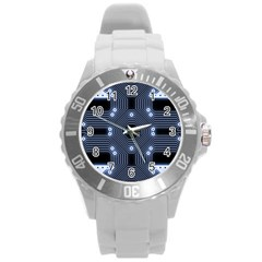 A Completely Seamless Tile Able Techy Circuit Background Round Plastic Sport Watch (L)