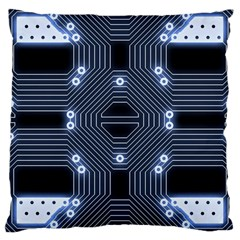 A Completely Seamless Tile Able Techy Circuit Background Large Cushion Case (One Side)